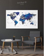 Blue and Grey Travel World Map Canvas Wall Art - Image 6