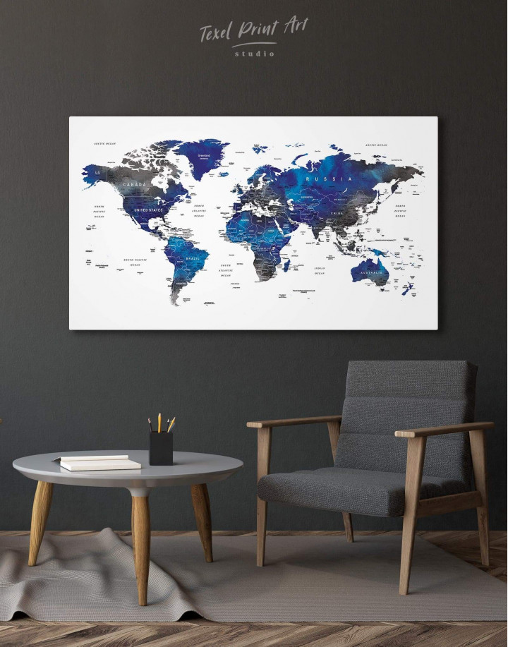 Blue and Grey Travel World Map Canvas Wall Art - Image 1