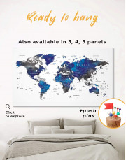 Blue and Grey Travel World Map Canvas Wall Art - Image 0