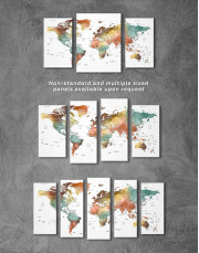 Watercolor Pushpin World Map Canvas Wall Art - Image 2