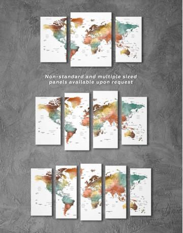 Watercolor Pushpin World Map Canvas Wall Art - image 5