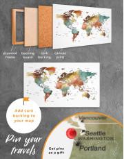 Watercolor Pushpin World Map Canvas Wall Art - Image 4