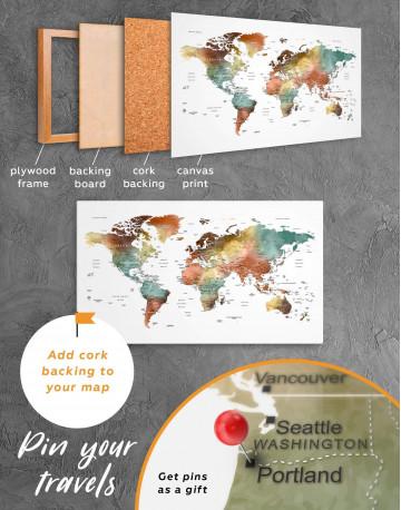Watercolor Pushpin World Map Canvas Wall Art - image 3