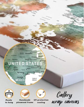 Watercolor Pushpin World Map Canvas Wall Art - image 1