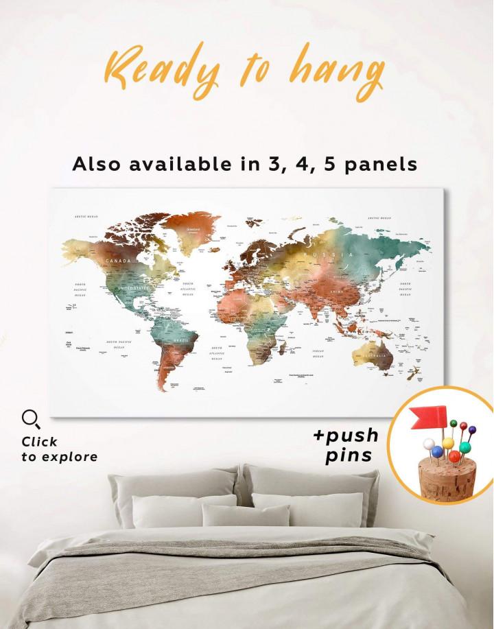 Watercolor Pushpin World Map Canvas Wall Art - Image 0