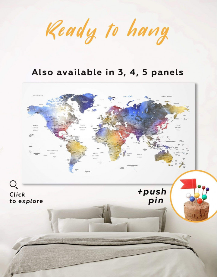 Modern Travel Map with Pins to Push Canvas Wall Art - Image 0