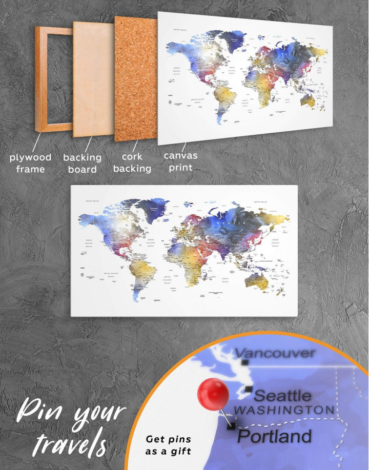 Modern Travel Map with Pins to Push Canvas Wall Art - Image 4