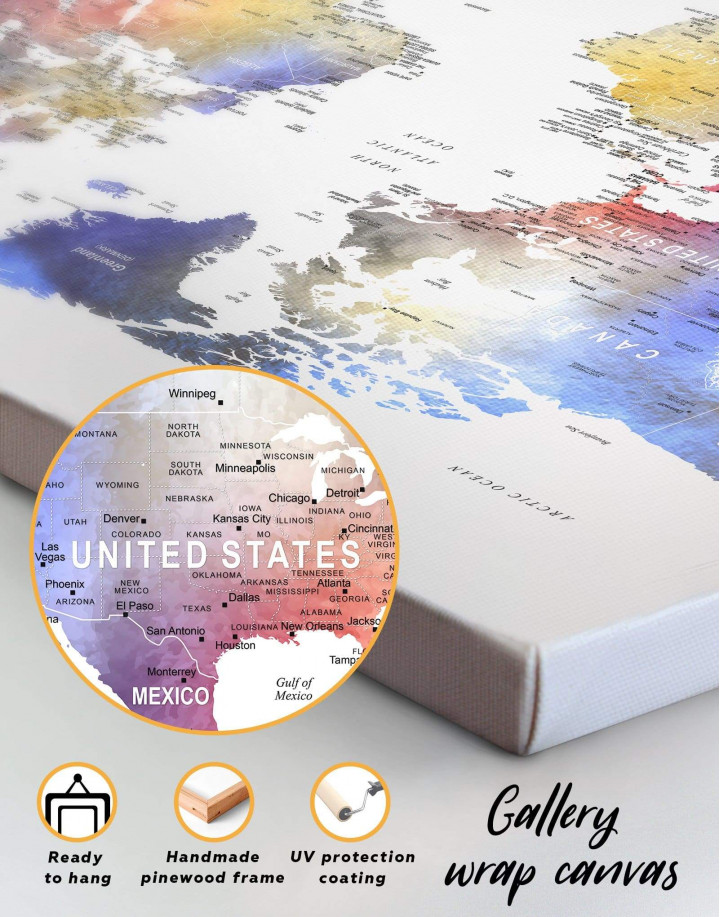Modern Travel Map with Pins to Push Canvas Wall Art - Image 6
