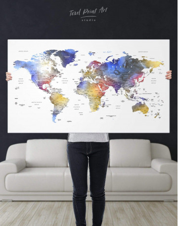 Modern Travel Map with Pins to Push Canvas Wall Art - image 7