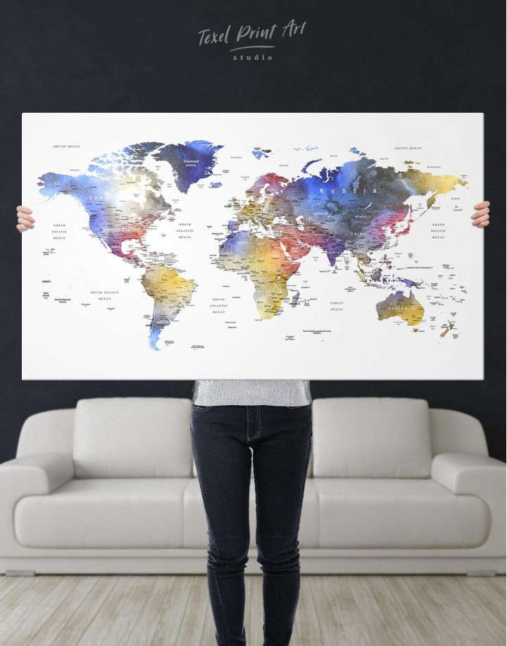 Modern Travel Map with Pins to Push Canvas Wall Art - Image 1