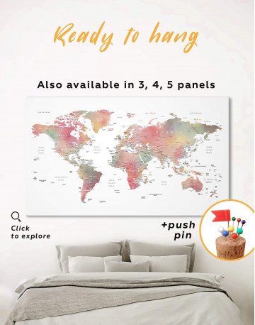 Travel World Map With Pins Canvas Wall Art