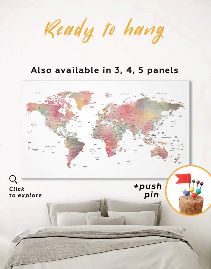Travel World Map With Pins Canvas Wall Art - Image 0
