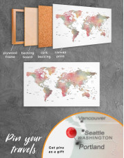 Travel World Map With Pins Canvas Wall Art - Image 4