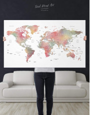 Travel World Map With Pins Canvas Wall Art - Image 1