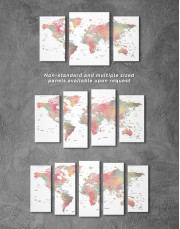 Travel World Map With Pins Canvas Wall Art - Image 2