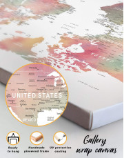 Travel World Map With Pins Canvas Wall Art - Image 6