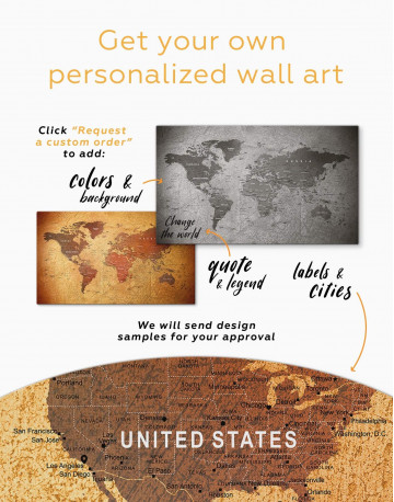 Rustic Travel Pushpin World Map Canvas Wall Art - image 3