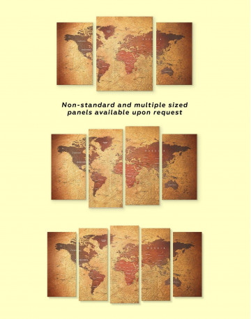 Rustic Travel Pushpin World Map Canvas Wall Art - image 1