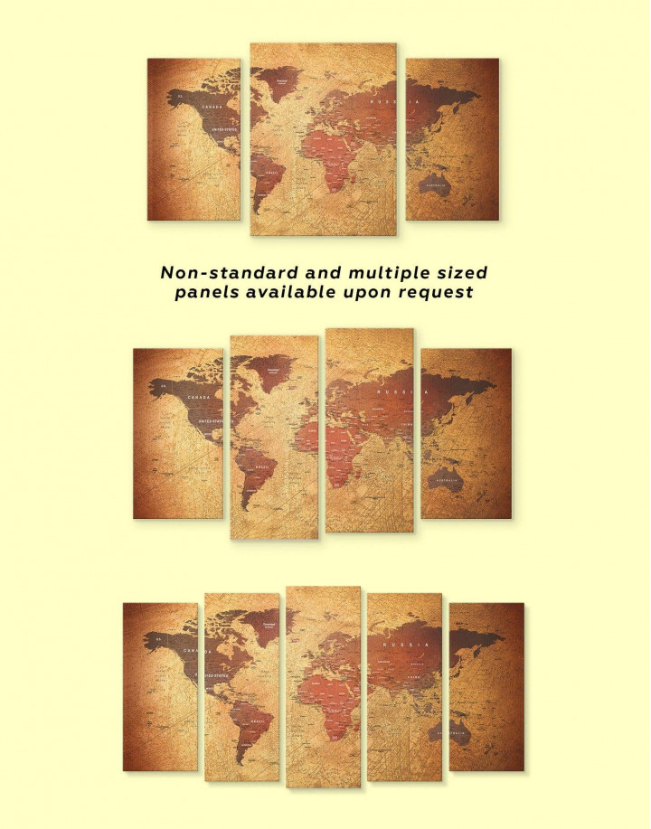 Rustic Travel Pushpin World Map Canvas Wall Art - Image 1