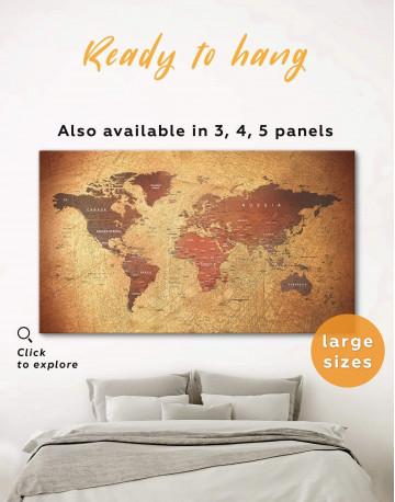 Rustic Travel Pushpin World Map Canvas Wall Art