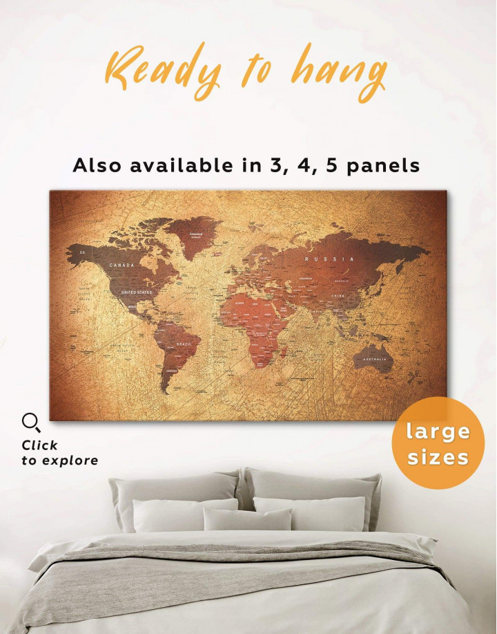 Rustic Travel Pushpin World Map Canvas Wall Art - Image 0
