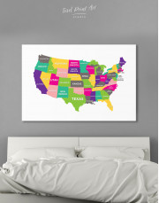 Push Pin USA Map Canvas Wall Art