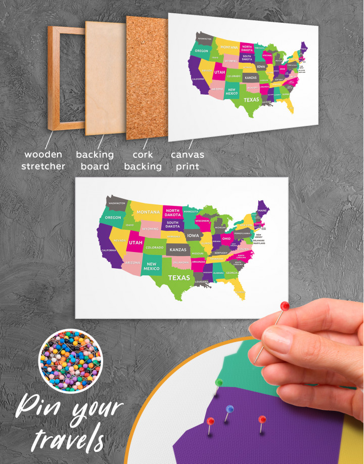 Push Pin USA Map Canvas Wall Art - Image 1