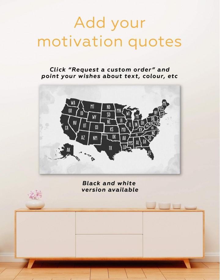 Modern USA Map Canvas Wall Art - Image 1