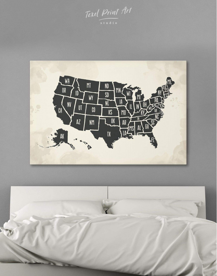 Modern USA Map Canvas Wall Art - Image 0