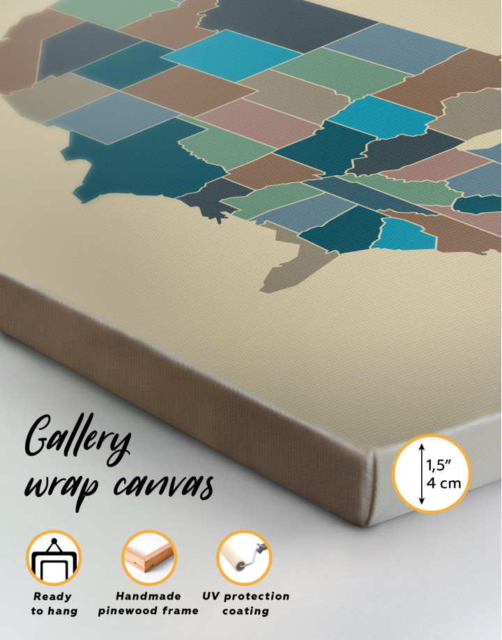 USA Abstract Map Canvas Wall Art - Image 5