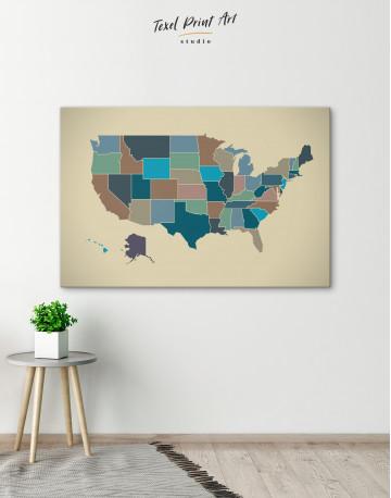 USA Abstract Map Canvas Wall Art