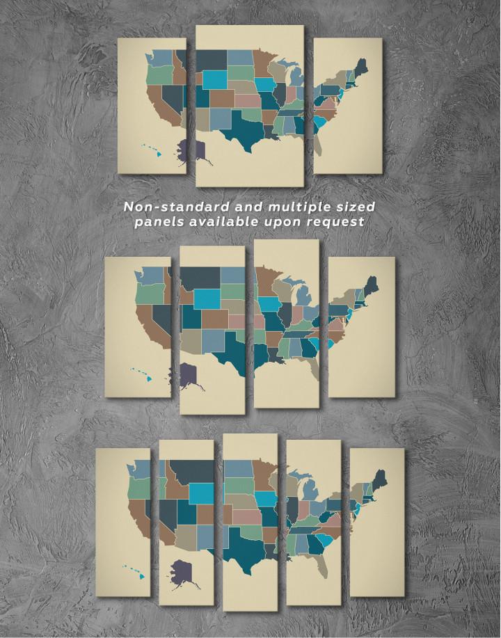 USA Abstract Map Canvas Wall Art - Image 2