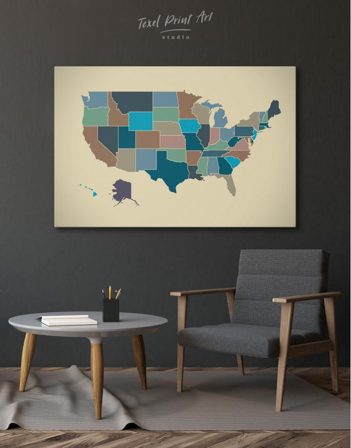 USA Abstract Map Canvas Wall Art - Image 3