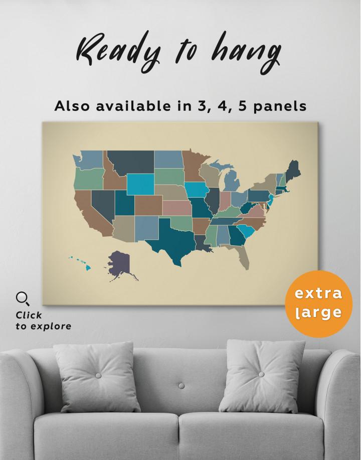 USA Abstract Map Canvas Wall Art - Image 6