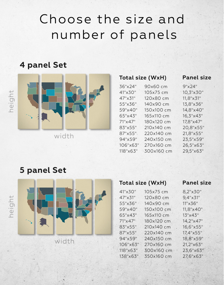 USA Abstract Map Canvas Wall Art - Image 1