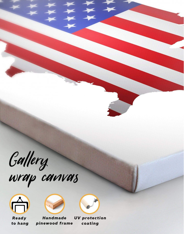 Patriotic USA Map Canvas Wall Art - Image 1