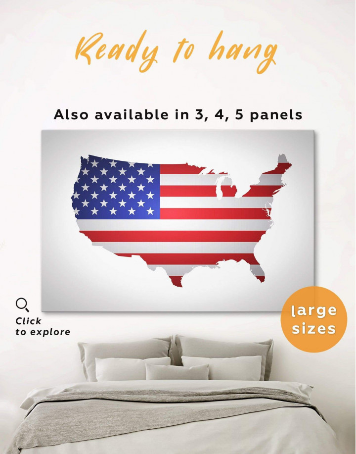 Patriotic USA Map Canvas Wall Art - Image 0