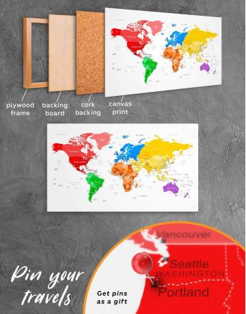 Detailed Push Pin World Map Canvas Wall Art - image 3
