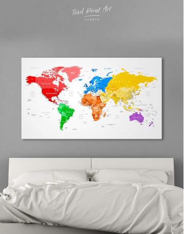 Detailed Push Pin World Map Canvas Wall Art - image 1