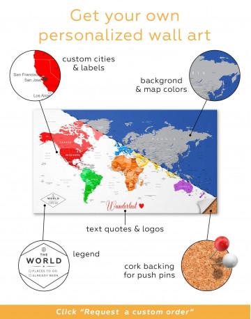 Detailed Push Pin World Map Canvas Wall Art - image 4
