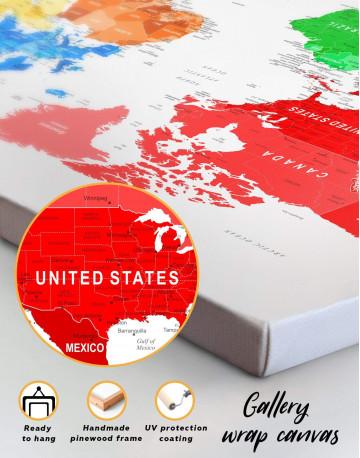 Detailed Push Pin World Map Canvas Wall Art - image 2