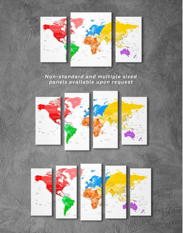 Detailed Push Pin World Map Canvas Wall Art - image 6