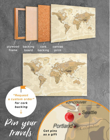Classic Brown World Map Canvas Wall Art - image 3