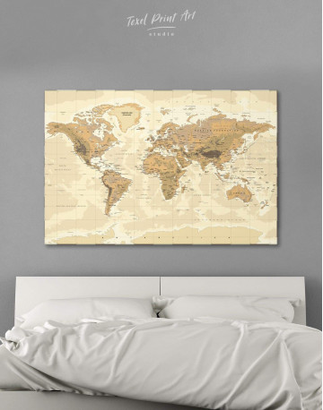 Classic Brown World Map Canvas Wall Art - image 1