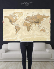 Classic Brown World Map Canvas Wall Art - Image 5