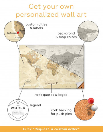 Classic Brown World Map Canvas Wall Art - image 2