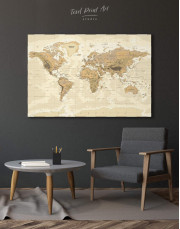 Classic Brown World Map Canvas Wall Art - Image 0