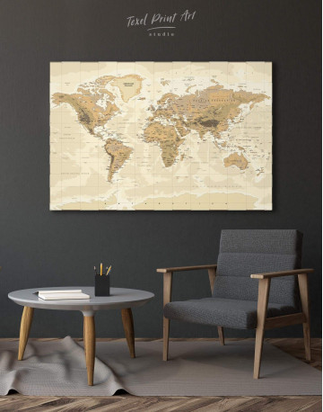 Classic Brown World Map Canvas Wall Art