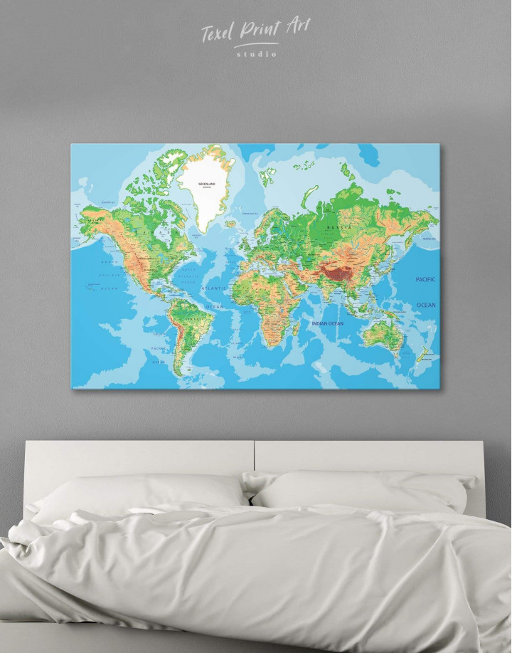 Physical Push Pin World Map Canvas Wall Art - Image 0