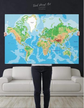 Physical Push Pin World Map Canvas Wall Art - image 1